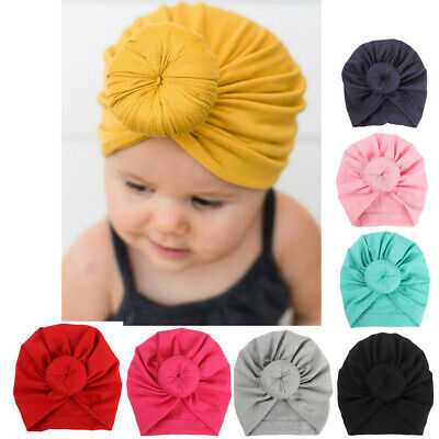 Baby Newborn Caps Turban Toddler Kids Boys Girls India Solid Hats Soft Hats UK