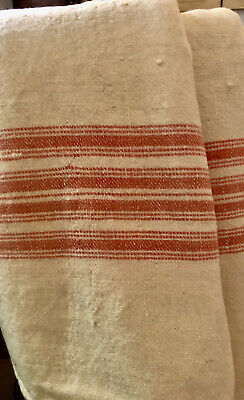 AAFA Antique Homespun Wool Blanket Loom Woven Ivory & Red Color French Country