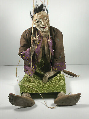 """Antique 21"""" Japanese Woman Carved Painted Wood Marionette Puppet chinese asian"""