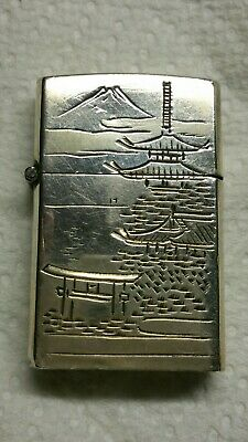 Antique Sterling Silver 950  hand Engraved Architecture Temples Lighter.Japan