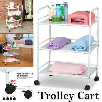 3 Tiers Shelf Beauty Salon Trolley Storage Dentist Wax Treatments Spa Cart Large
