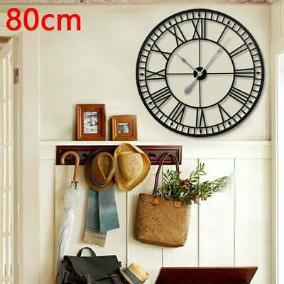 Large Metal Home Wall Clock Big Roman Numberals Giant Open Face 80cm Round