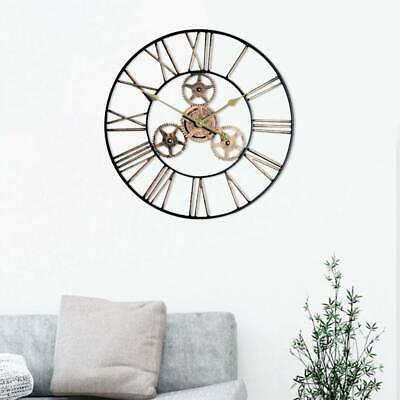 Indoor Outdoor Large Garden Wall Clock Roman Numerals Giant Open Face Metal 60Cm