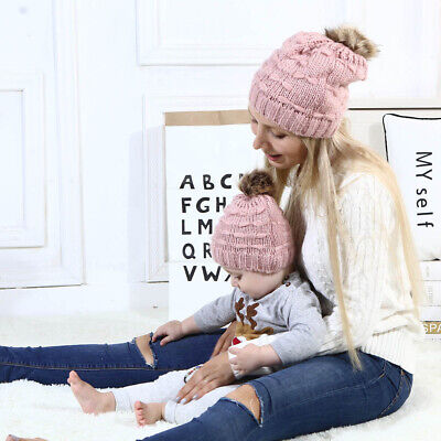 AU Women Mother Baby Child Warm Winter Knit Beanie Fur Pom Hat Crochet Ski Cap