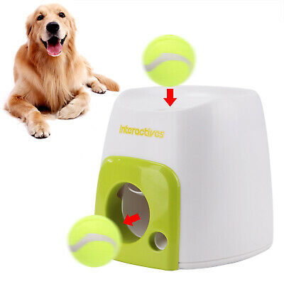 Automatic Interactive Pet Dog Treat Tennis Ball Toy Fetch Hyper Game Training
