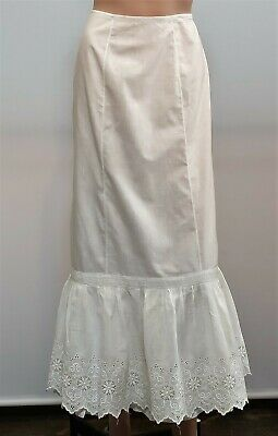 Antique Victorian White Cotton Full Length Petticoat Half Slip Drawstring