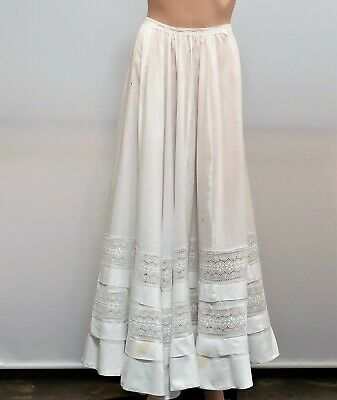 Antique Victorian White Cotton Full Length Petticoat Half Slip