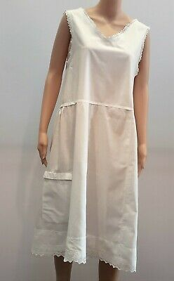 Antique Victorian White Cotton Full Length Nightgown With Pocket