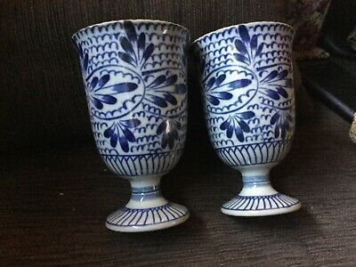 Pair of vintage Asian blue and white 13,5 cm high CERAMIC Mugs Near new