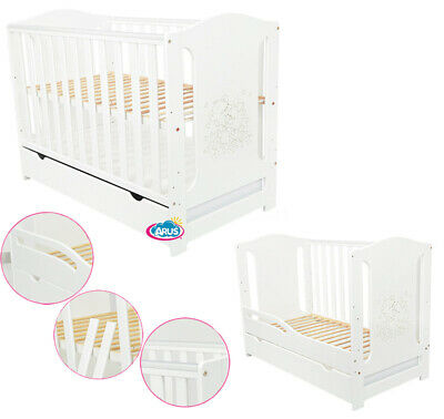 """Baby Cot With Drawer/Junior Bed """"Olwia"""" White + Mattress To Choose-Free Delivery"""