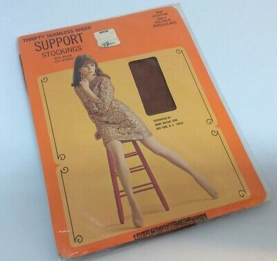 Vintage 60's Seamless Sheer Support Stockings Nylon & Spandex Szolds USA