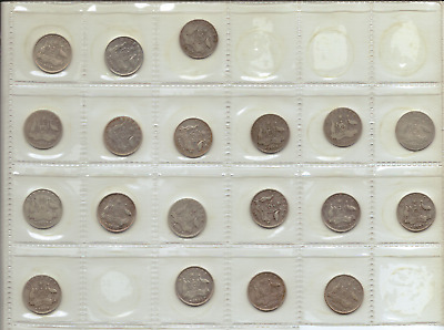 AU - 19x SILVER SIXPENCE Coins - dating between 1910 and 1936