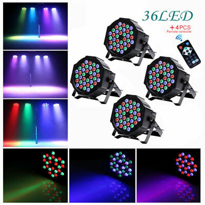 4PCS U`King 80W Stage Lighting RGB 36LED Par Can DMX Remote DJ Disco Party Light