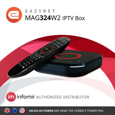 MAG324w2 Infomir IPTV Set-Top Box built-in Wi-Fi Streamer with UK Power Adapter