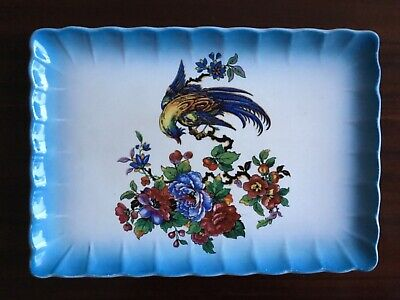 LARGE Vintage Victorian antique Newhall Plate - Bird Scene (matches jug listed)