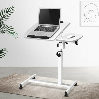 Steel Adjustable Laptop Desk Mobile Computer Stand Table Bed Sofa Tray on Wheels