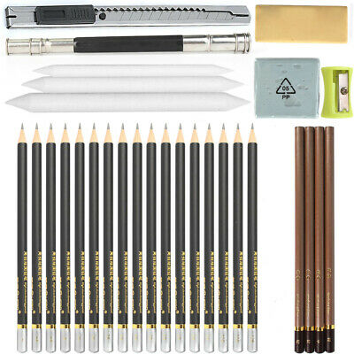Sketch Pencil Drawing 6H~12B Art Tool 29-Pcs Non-toxic Kit For Artists Students