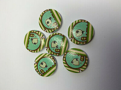 6 Modern Green & Yellow Elephant Buttons. Wooden with Varnish finish. 20mm.