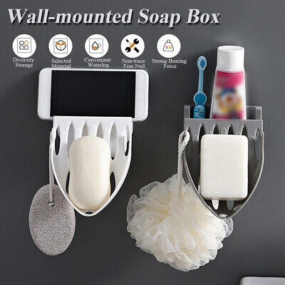 Home Bathroom Wall Mount Shower Soap Rack Sponge Holder Plate Tray Drain Dish