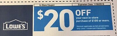 Lowes $20 off $100+ Guaranteed ~ Exp 12/31/19 Can Be Emailed IN STORE ONLY