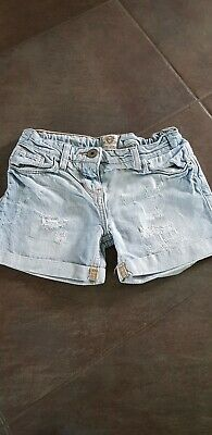 River Island Pale Blue Denim Shorts Age 7/8 Girls Very Good Condition 100% Cotto