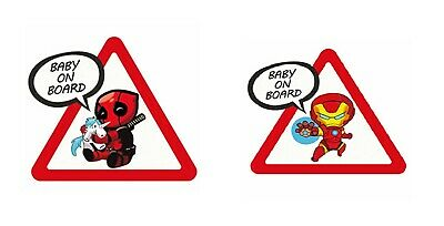 Autocollant Voiture Bébé à bord Deadpool Ironman Spiderman Hulk Baby on Board