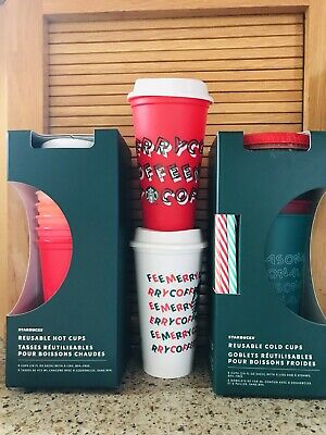 Starbucks 2019 Christmas Holiday Reusable Coffee Cup Bundle Lot of Cold Hot Cups
