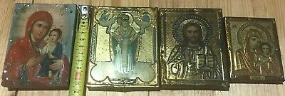 "Antique 19c Russian Orthodox Print on Metall Wood Icon "" Set of 4 icons mini"""