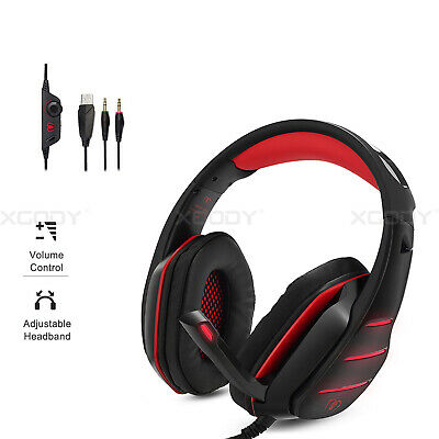 Beexcellent Gaming Headset Mikrofon Rot LED Stereo 7.1 für PC Laptop PS4 Xbox