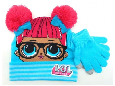LOL Surprise Dolls Girls Winter Knitted Pom Beanie Hat Touch screen Gloves Set