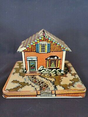 Vintage Tin Litho Still Bank Christmas Snow Scene House No. 56 By Us Metal Toy