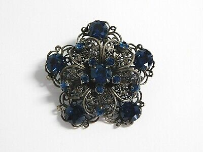 Vintage Beautiful Silver Tone Filigree Dark Navy Rhinestone Star Brooch Pin