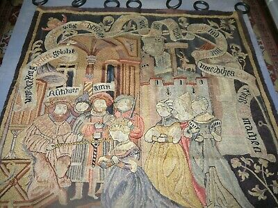Antique European Tapestry BY Hand  1800's Chateau Coronation Textile Wool Silk