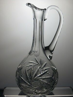 Vintage Bohemia Crystal Pinwheel Cut Decanter With Handle Without Stopper