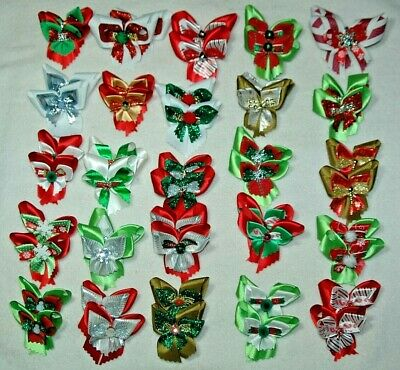 Pet Dog Grooming Bows Christmas 50 Pcs  (25 Pr.) X-Large C-24  Made In The Usa