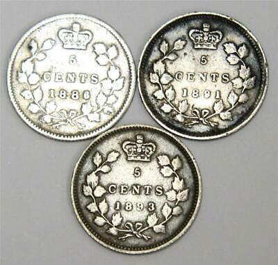 1886 S6  1891 and 1893 Canada 5 cents 3 coins VF-F