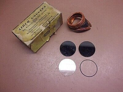 Vintage AIRCO Welding/Cutting Goggles PARTS ONLY 2 Smoked Lenses 1 Clear Plus+