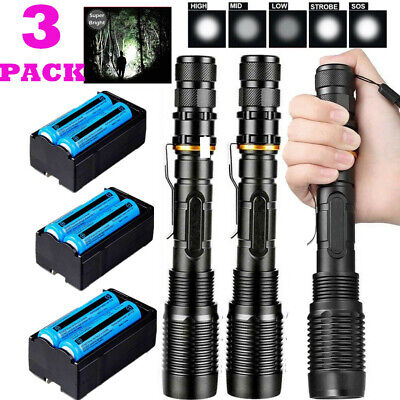 3Pcs 990000Lumens 5 Modes Police Tactical Flashlight T6 LED Torch Light Zoomable