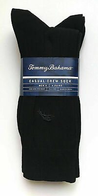 Pack of 4 TOMMY BAHAMA Mens All Black Men's Casual Crew Sock