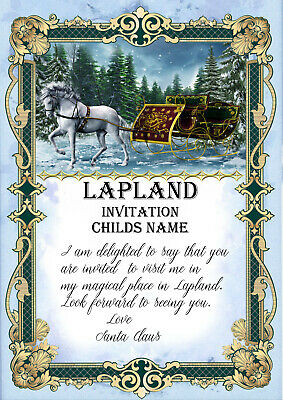 Lapland Invitation Card, Personalised Christmas Lapland Santa Claus Invite,