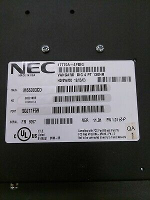 NEC Nitsuko 4 Port Vangard voicemail 17770A-4PDIG 130hr, w/correct power supply