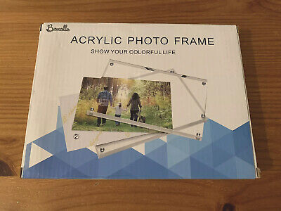 8x6 Freestanding Polished Clear Acrylic Magnetic Picture Photo Frame