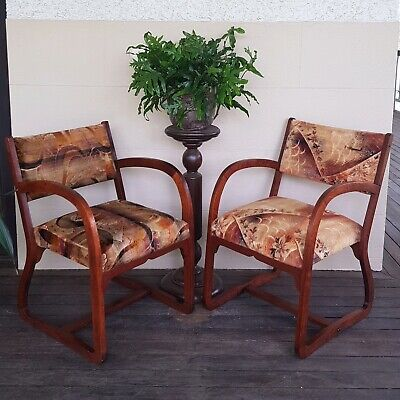 Art Deco Chairs, Pair of Silky Oak, Vintage, Retro.