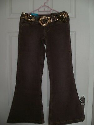 Girls Denim Flared Trousers with Gold Belt  (new with tags) Age 11