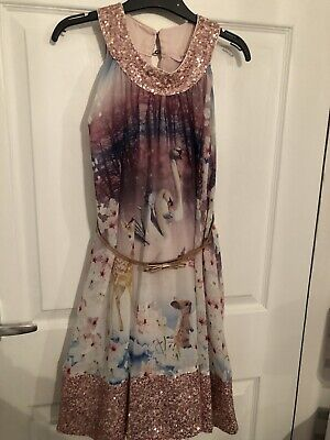 Girls age 9 years Ted baker floral dress fully lined beautiful  VGC