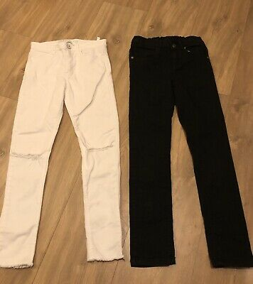 H&M Girls Skinny Fit Black and White Jeans Age 8-9 Yrs great condition two pairs