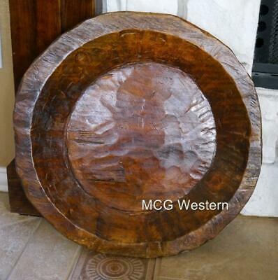 Wood Dough Bowl Hand Carved Trencher Centerpiece Wooden