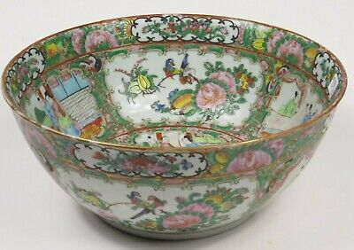 Antique Chinese Rose Medallion Hand Painted Punch Centerpiece Bowl Birds