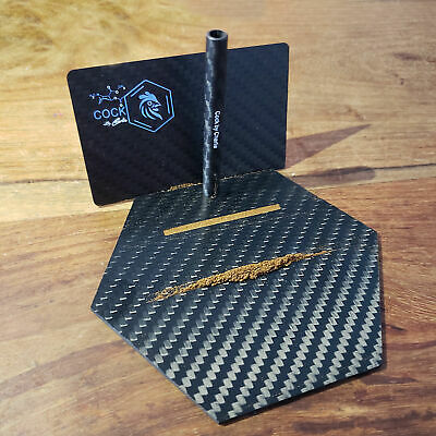 Luxury Travel Carbon Fiber Cutting Plate With Card And Straw Kit
