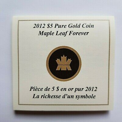 Canada - 5 Dollars - 2012 - Maple Leaf Forever - Gold Coin - CoA Only / No Coin